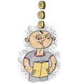 A boy reading a book education and learning con vector