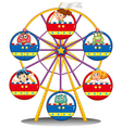 A carnival ride with monsters and kids vector