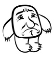Sad cartoon monster black and white lines vector