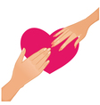 Woman and man hands on the background with heart vector