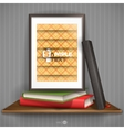 Wood shelf with photo frame vector