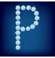 diamond alphabet letter p vector