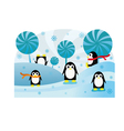 Penguins in snow vector
