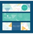 Abstract fabric triangles horizontal banners set vector
