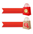 Bag with ribbons and label vector