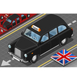 Isometric black london taxi in front view vector