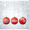 Grey christmas card with three ball vector