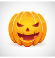 Halloween pumpkin with evil grin smile card vector