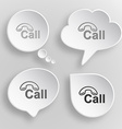 Hotline white flat buttons on gray background vector