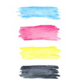 Cmyk colors watercolor stains vector