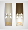 Greeting cards with white bows vector