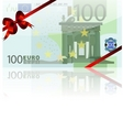 100 euro and red bow vector