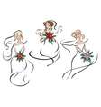 Brides or bridesmaids in classic wedding outfits vector