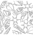 Seamless background with different shells vector