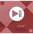 Play button web icon on a flat geometric abstract vector