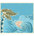 Blue seascape with big wave and sun on old poster vector