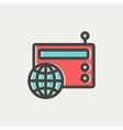 Vintage world radio thin line icon vector