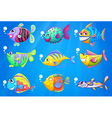 Nine colorful fishes under the sea vector