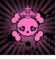 Cute skull with crown vector