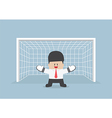 Businessman playing goalkeeper vector