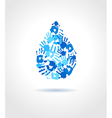 Abstract blue water drop made from hands vector