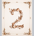 Retro vintage letter number in a frame vector