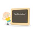 Little boy and school blackboard vector