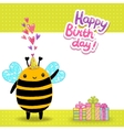 Happy birthday card background with a bee vector