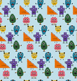 Seamless pattern with simply monsters background vector