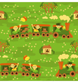 Seamless baby pattern travel by train vector