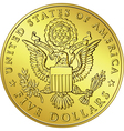 Gold dollar coin with eagle vector