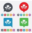 Flowers sign icon roses symbol vector