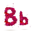 Letter b made from hearts love alphabet vector