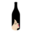 Pretty lady in a bottle- beverage business logo vector