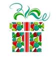 Gift box made of christmas balls vector