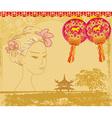 Abstract asian landscape and beautiful geisha vector