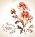 Vintage hand drawn floral background with rose vector