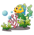 A yellow fish under the sea near the seaweeds vector