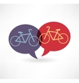 Two flat speech bubble icon with bicycles vector