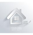 White paper origami home icon vector