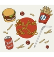Hand drawn fast food doodle set vector