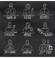 Monochrome hand drawn people occupation on vector