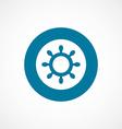 Ship wheel bold blue border circle icon vector