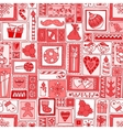 Red seamless christmas and new year pattern vector