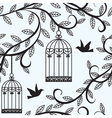 Birds flying and cage vector