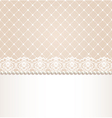Lace floral border on net background vector