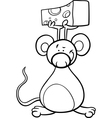 Cute mouse with cheese coloring page vector