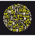Human bones icons in big yellow circle eps10 vector