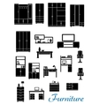 Black wooden furniture flat icons vector