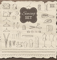 Set of sketch sewing elements vector